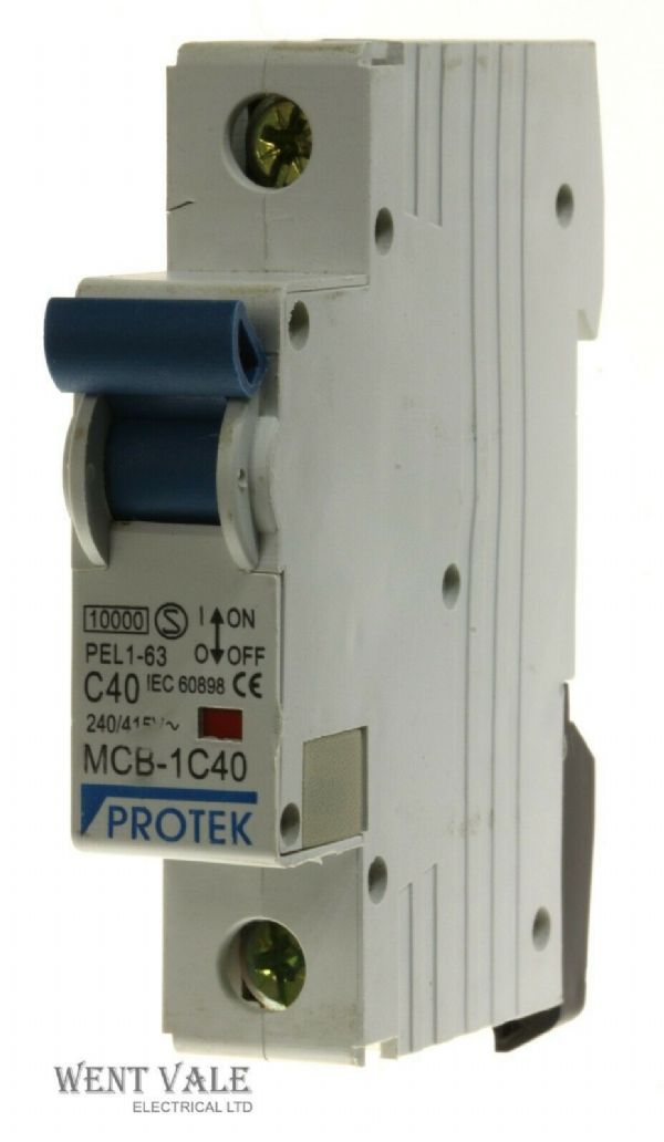 Protek - PEL-63 MCB-1C40 - 40a Type C Single Pole MCB Used